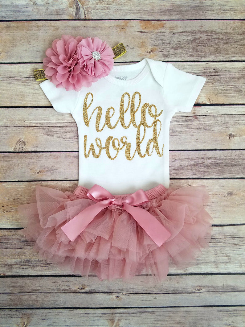 Hello World Newborn Outfit Vintage Pink And Gold - Adassa Rose