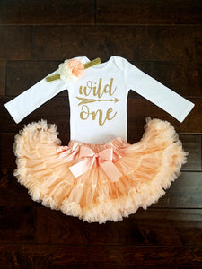 Wild One First Birthday Outfit Peach And Gold Tutu - Adassa Rose