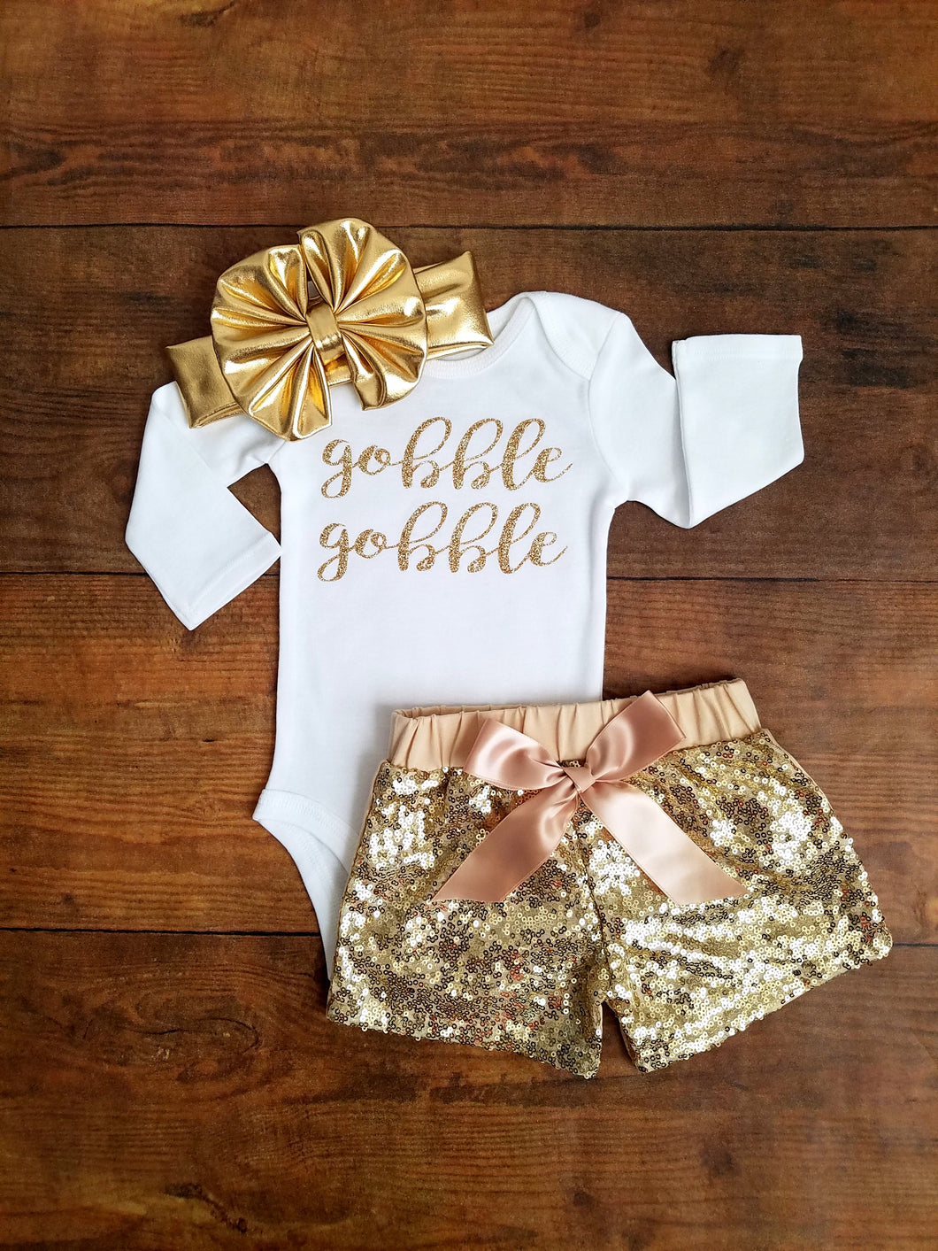Thanksgiving Outfit Girl Gobble Gobble Outfit Girl Sequin Shorts - Adassa Rose