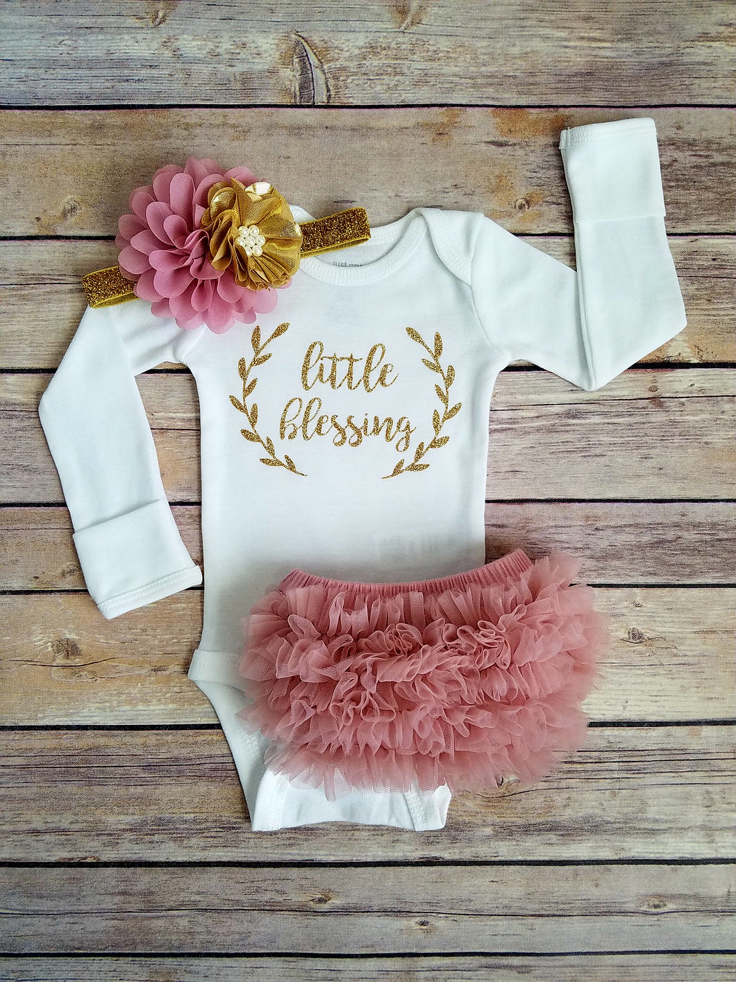 Dusty Pink And Gold Little Blessing Newborn Outfit Coming Home Outfit Girl Pearl Flower - Adassa Rose