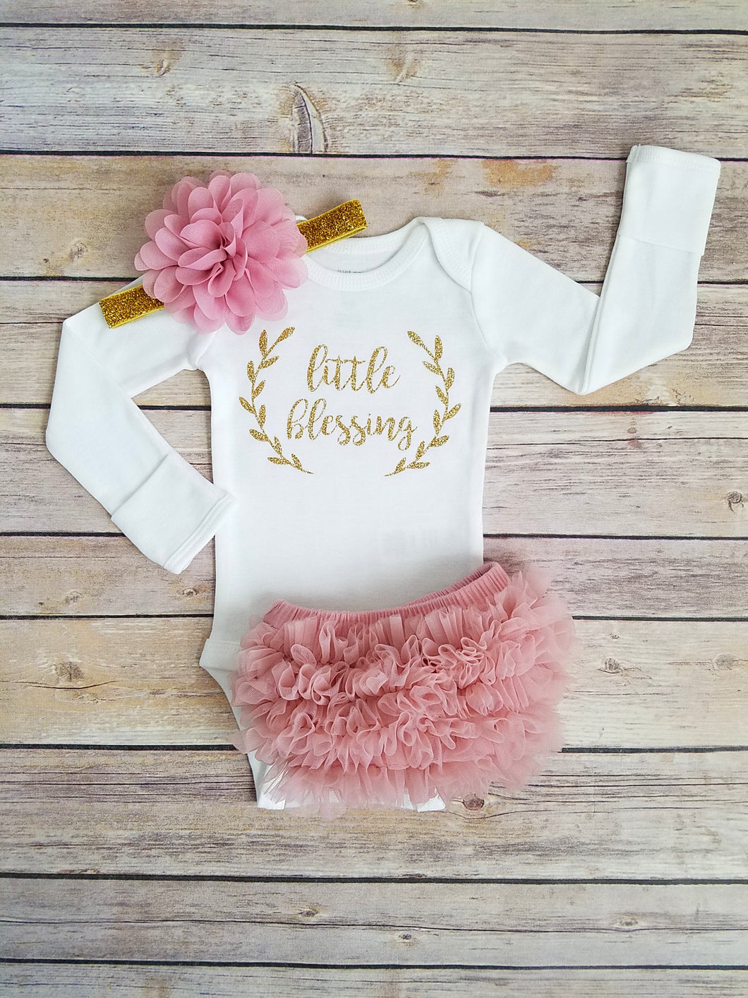 Dusty Pink And Gold Little Blessing Newborn Outfit Coming Home Outfit Girl - Adassa Rose