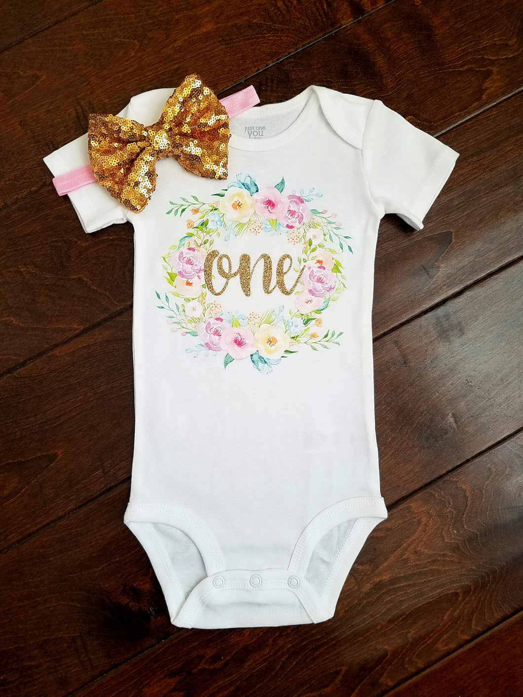 Floral Wreath First Birthday Onesie Pink And Gold - Adassa Rose