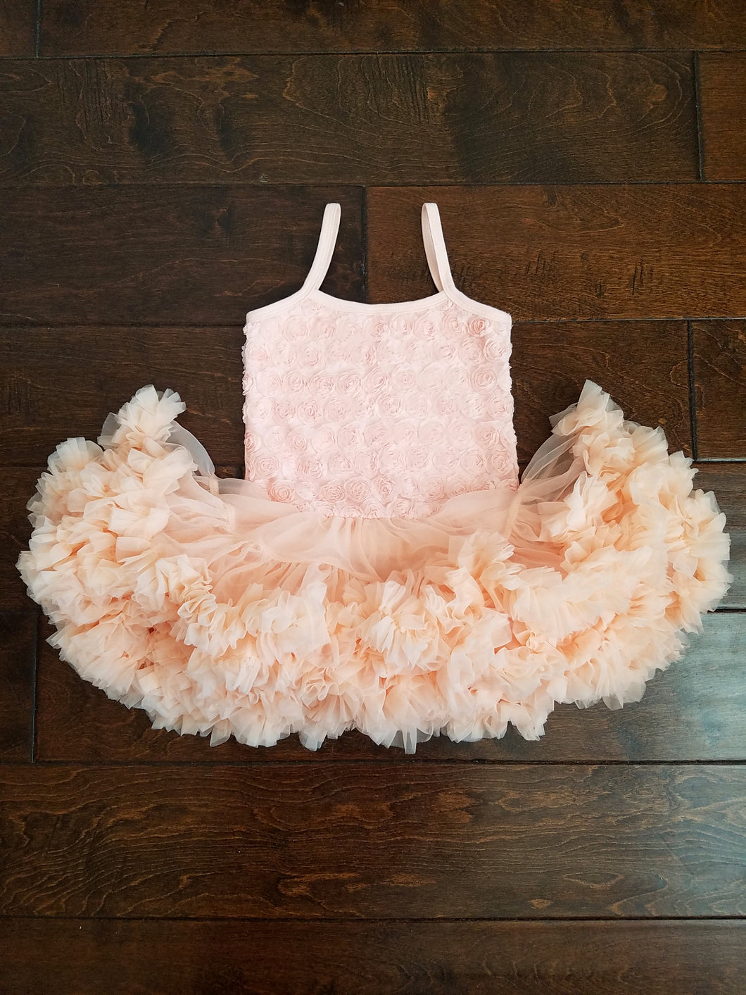 Rosette Tutu Dress Peach - Adassa Rose