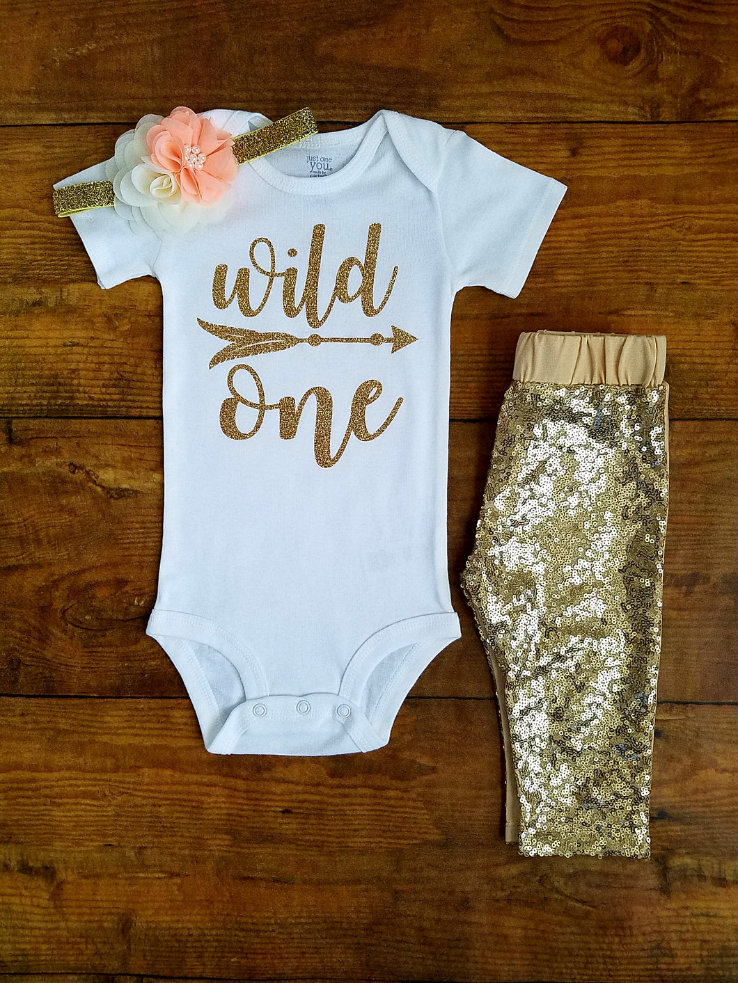 Wild One First Birthday Outfit Girl Peach And Gold Leggings - Adassa Rose