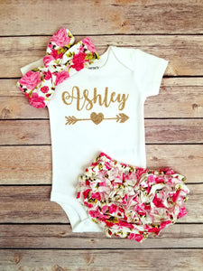 Rose Floral Baby Girl Outfit - Adassa Rose