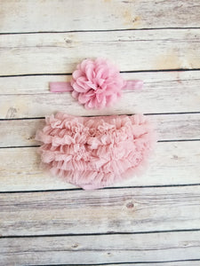 Vintage Pink  Bloomer And Headband Set Newborn Bloomer Set - Adassa Rose