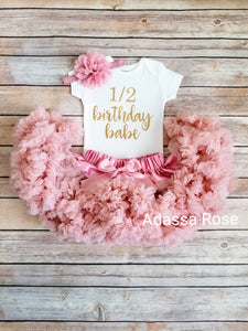 Ava 6 Month Birthday Outfit Girls Half Birthday Vintage Pink And Gold Outfit - Adassa Rose