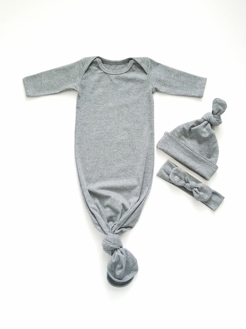 Heather Grey Newborn Knotted Gown Unisex Coming Home Outfit Girl Boy - Adassa Rose