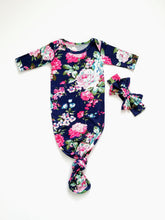 Load image into Gallery viewer, Navy Floral Newborn Knotted Gown Coming Home Outfit Girl - Adassa Rose