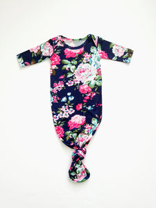 Navy Floral Newborn Knotted Gown Coming Home Outfit Girl - Adassa Rose