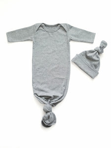 Heather Gray Newborn Knotted Gown Unisex Coming Home Outfit Girl Boy - Adassa Rose