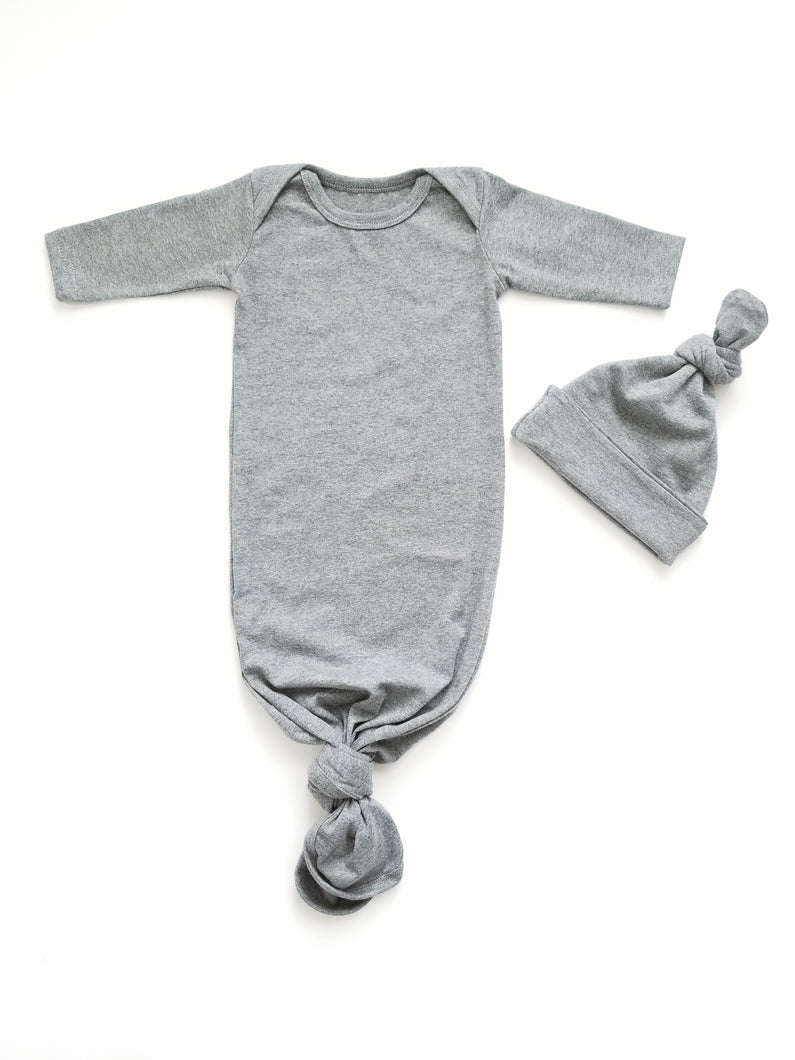 Heather Grey Newborn Knotted Gown Unisex Coming Home Outfit Boy - Adassa Rose