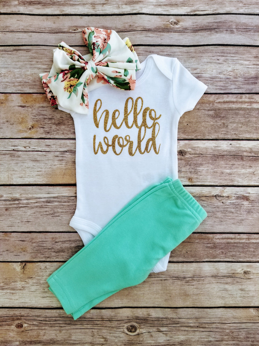 Jenna Hello World Newborn Outfit Hello World Bodysuit Coming Home Outfit Girl - Adassa Rose