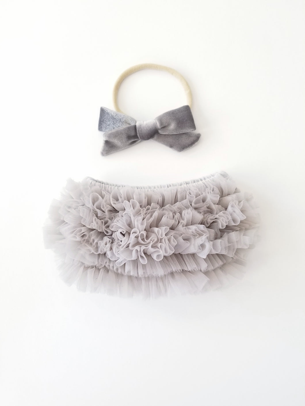 Gray Bloomer And Velvet Bow Headband Set - Adassa Rose