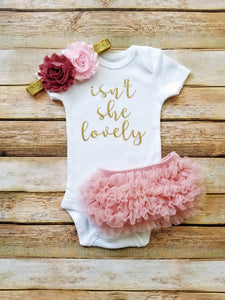 Isn't She Lovely Newborn Outfit Girl Dusty Pink And Gold Coming Home Outfit Girl - Adassa Rose