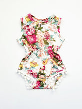 Load image into Gallery viewer, Scarlett Floral Pom Pom Romper Girl - Adassa Rose