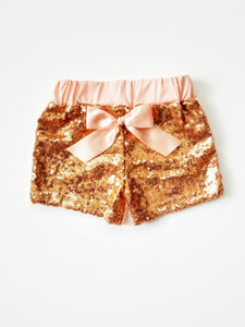 Rose Gold Sequin Shorts Girl - Adassa Rose