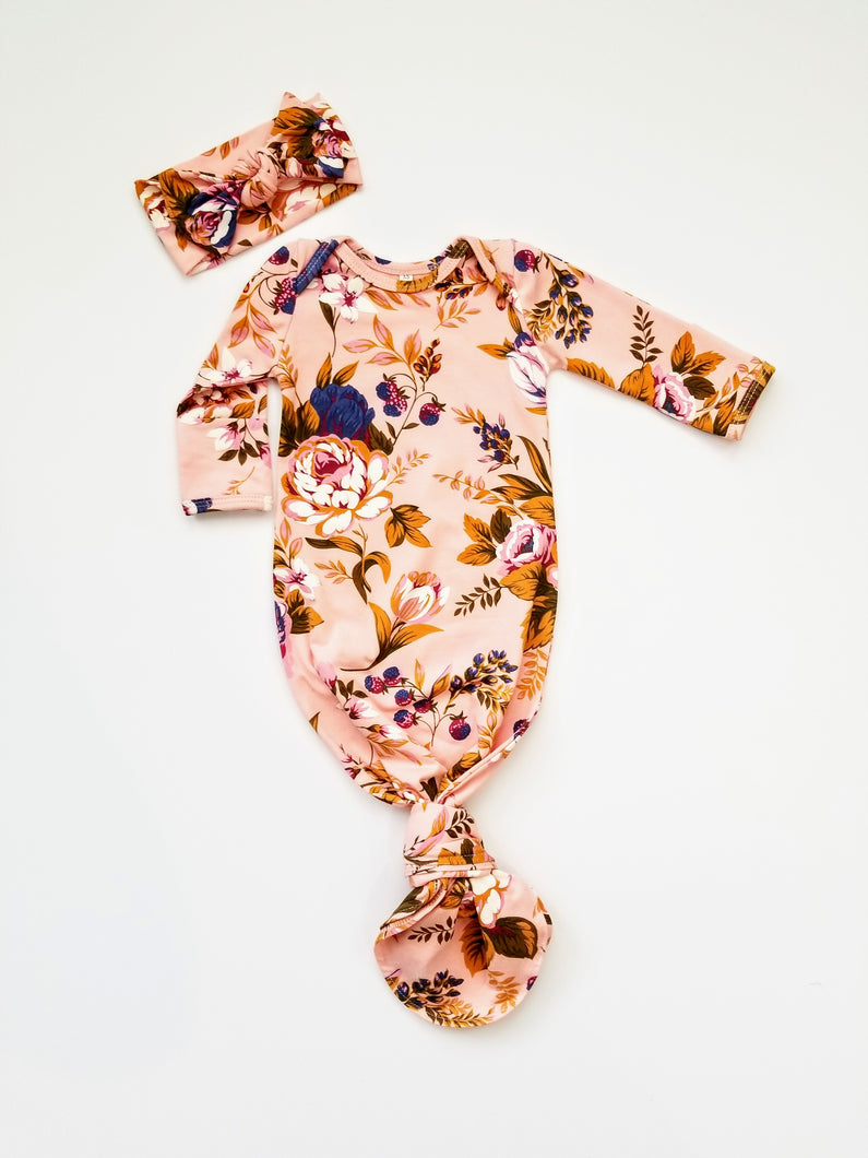 Autumn Garden Floral Newborn Knotted Gown - Adassa Rose