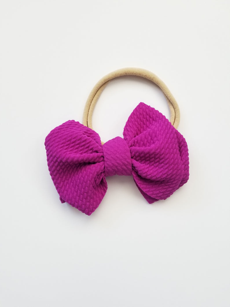 Abby Textured Bow Headband Purple - Adassa Rose