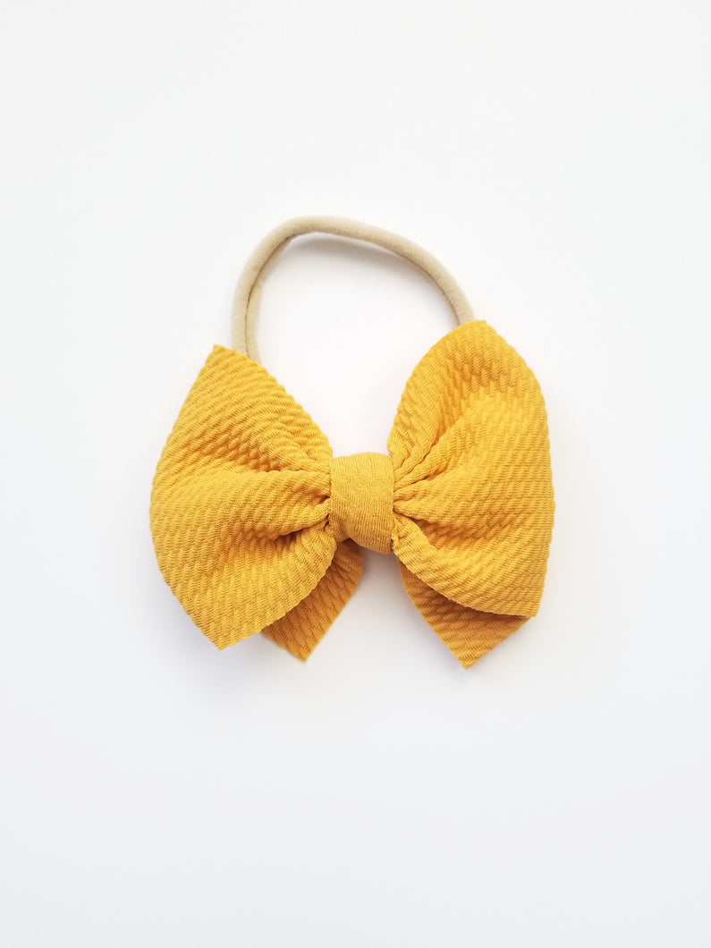 Abby Textured Bow Headband Mustard - Adassa Rose