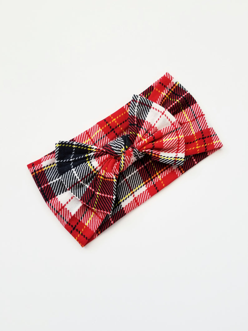 Red Plaid Knot Headband - Adassa Rose