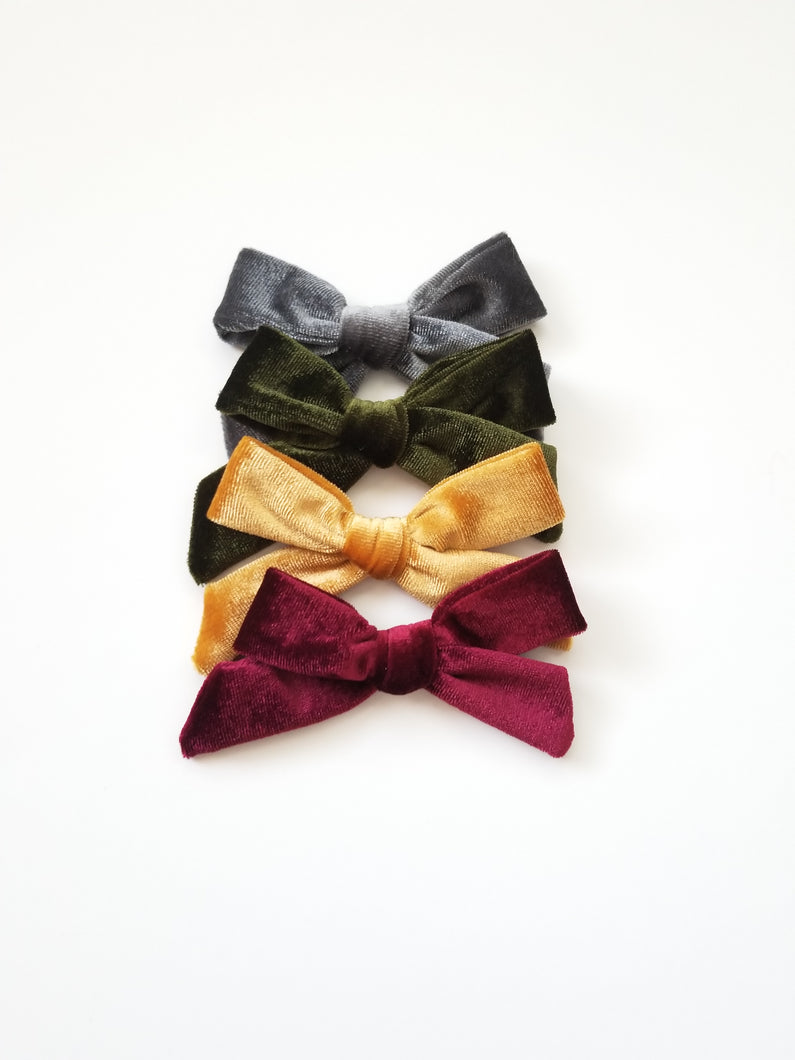 4-Pack Velvet Bow Hair Clip - Adassa Rose