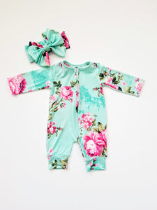 Mint Floral Long Sleeve Baby Girl Zipper Romper And Headband - Adassa Rose