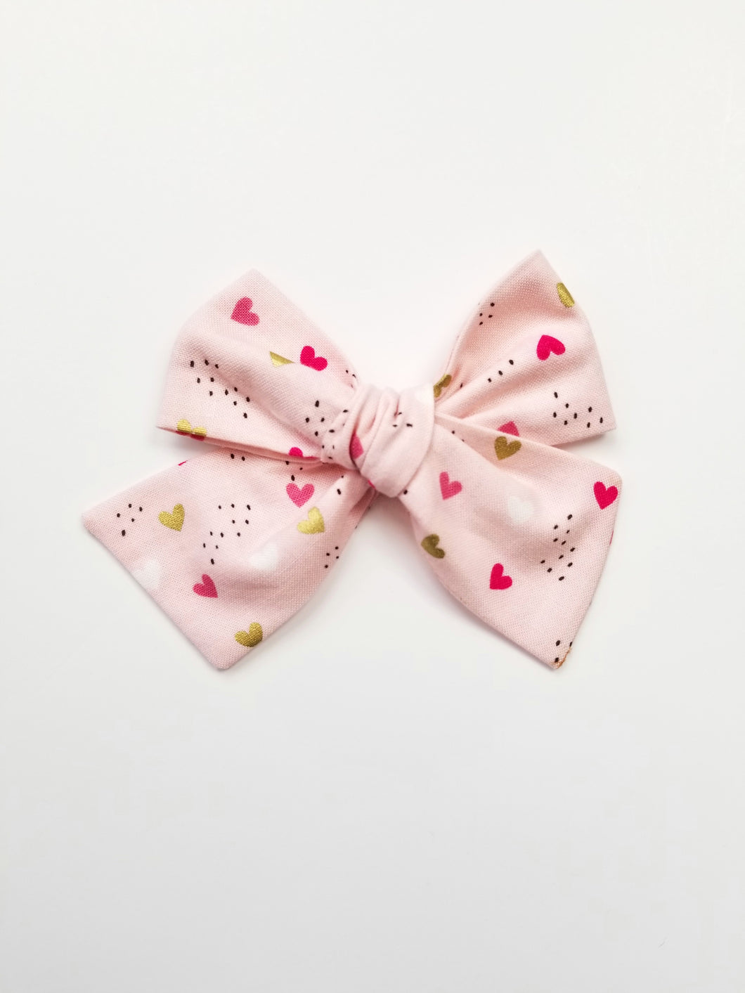 Galiana Pink And Gold Hearts Bow - Adassa Rose