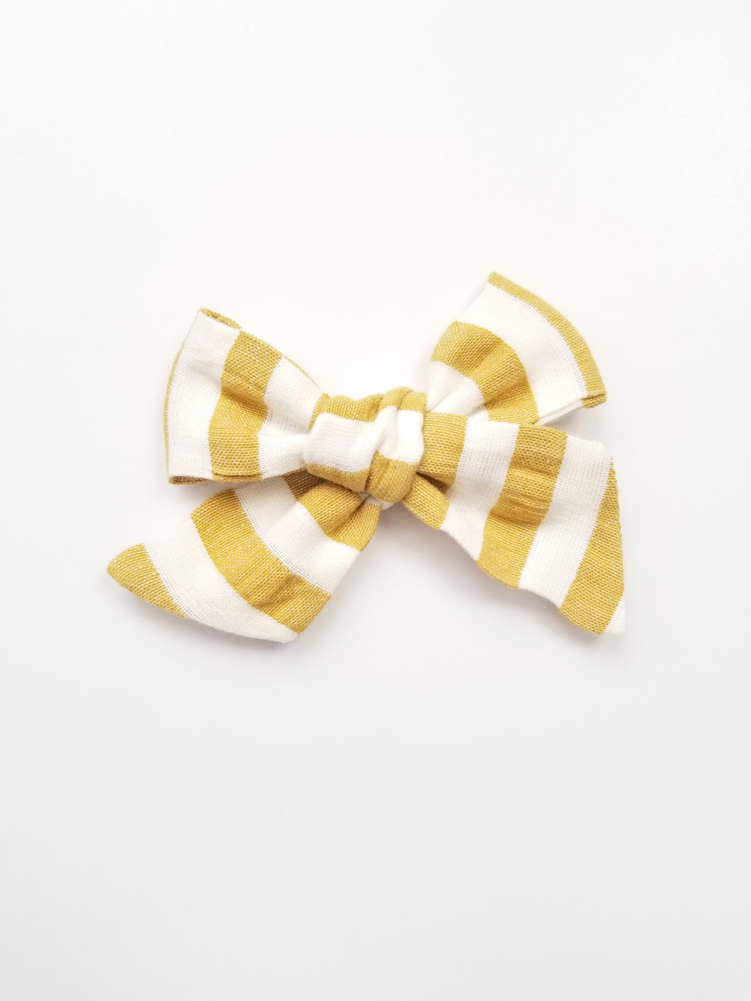 Claire Knotted Hair Bow Striped Mustard - Adassa Rose