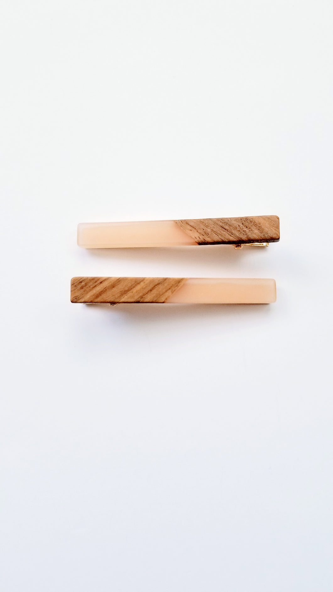 Yemi Wooden Acrylic Bar Hair Clip Set | Blush Pink - Adassa Rose