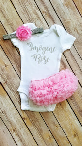 Personalized Pink And Silver Newborn Outfit Hello World Outfit Baby Girl Outfit - Adassa Rose