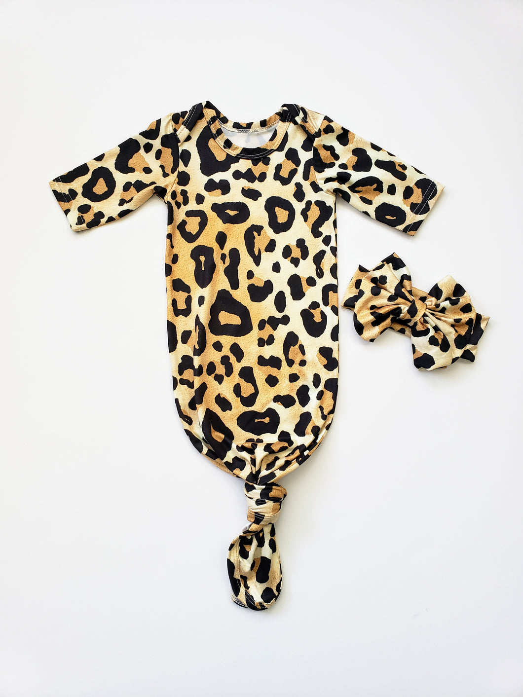 Leopard Newborn Gown Coming Home Outfit Girl - Adassa Rose