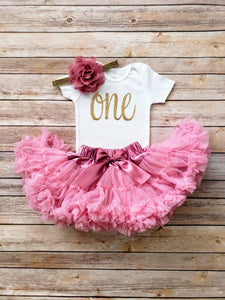 Dusty Rose And Gold First Birthday Outfit - Adassa Rose