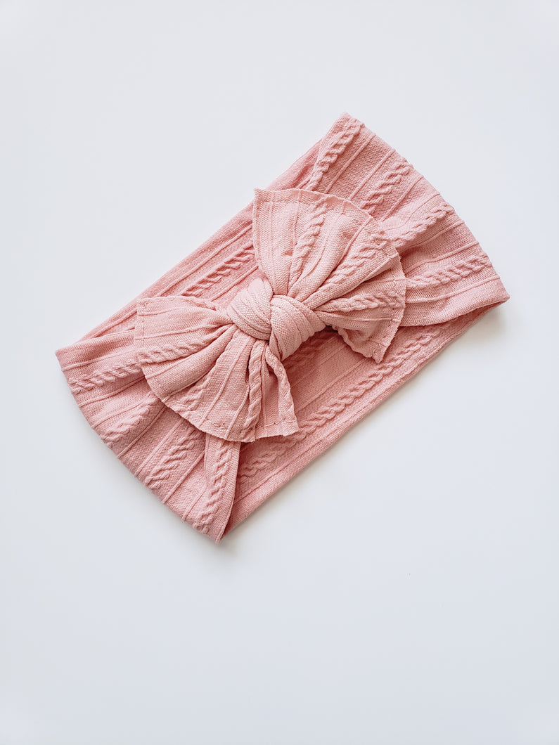 Mia Cable Knit Bow Headwrap - Blush Pink