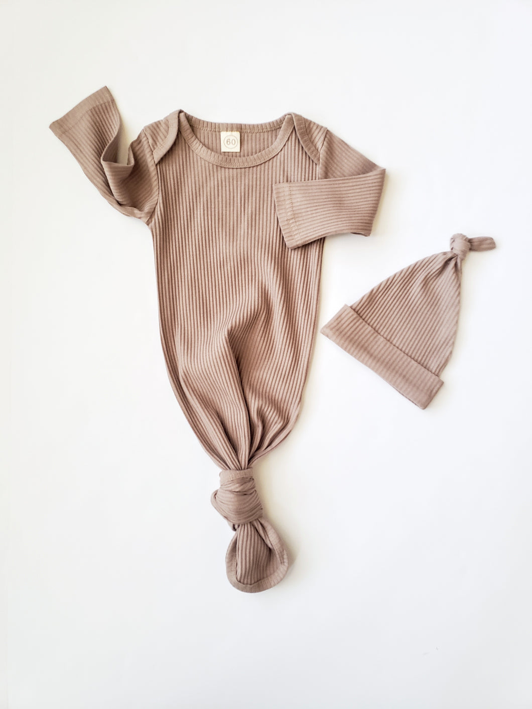 Knotted Baby Gown Set | Ribbed Tan