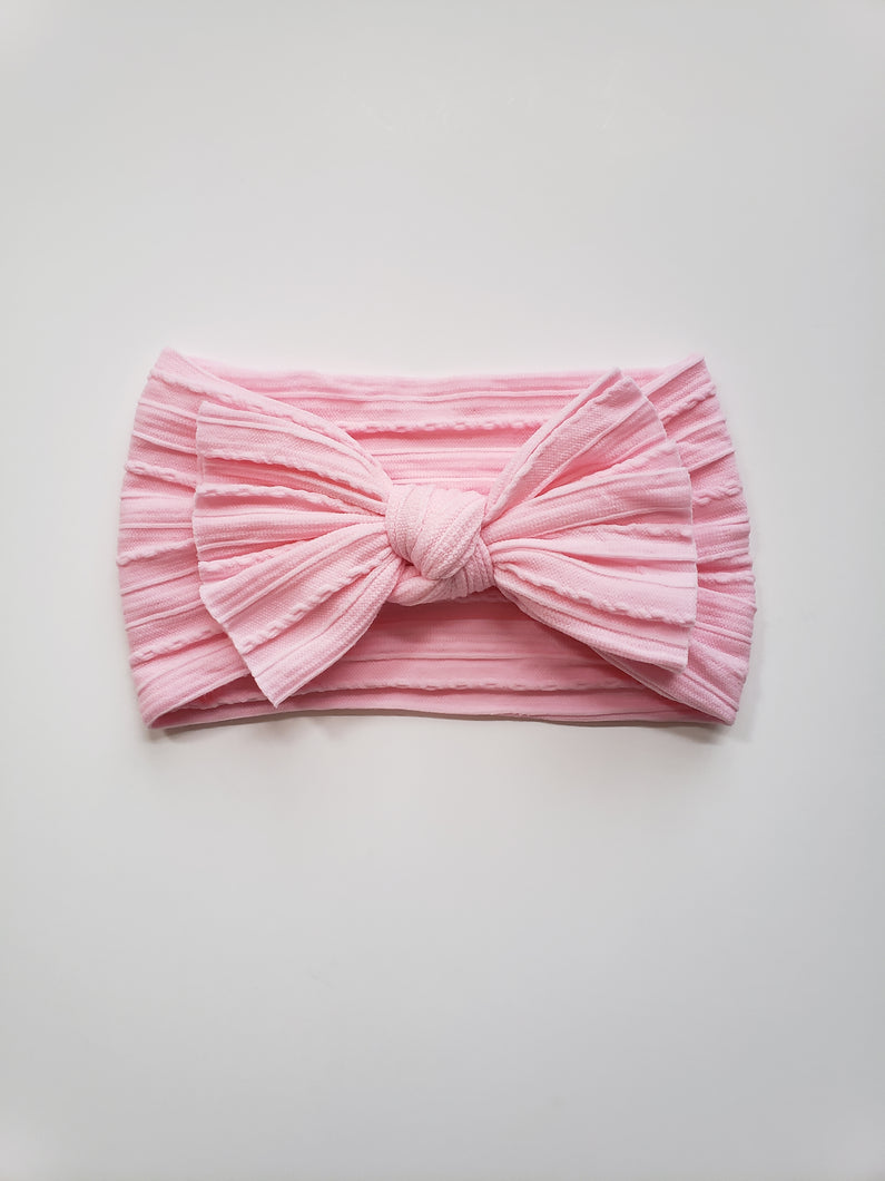 Cable Knit Bow Headband | Pink