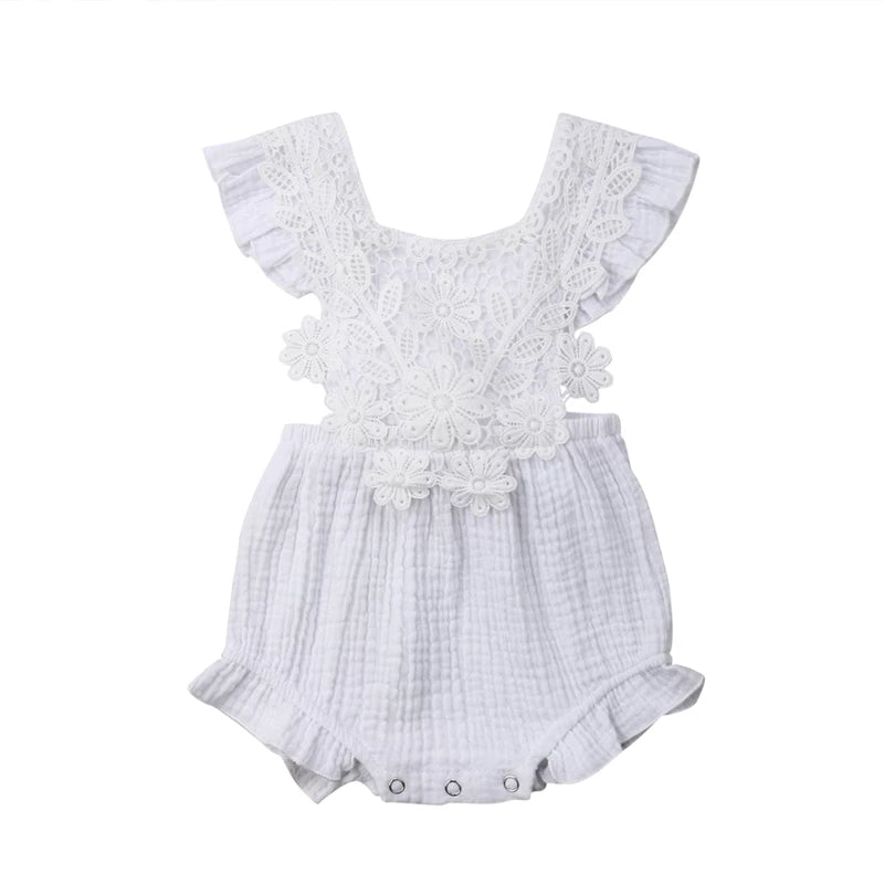 Floral Lace Baby Girl Romper White - Adassa Rose