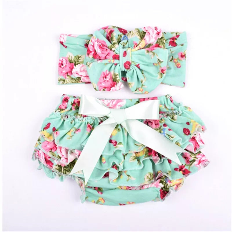 Mint Floral Bloomer And Headband Set - Adassa Rose