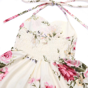 Madison Floral Halter Dress Ivory - Adassa Rose