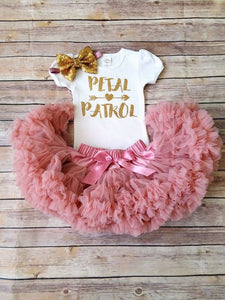 Vintage Pink And Gold Petal Patrol Outfit Flower Girl Rehearsal Outfit