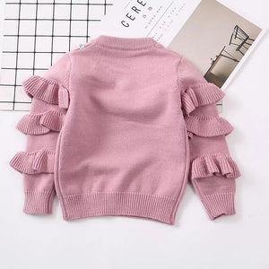 Pearla Ruffled Sleeve Sweater - Adassa Rose