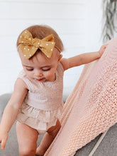 Load image into Gallery viewer, Nyla Knotted Hair Bow - Mustard Polka Dot - Adassa Rose