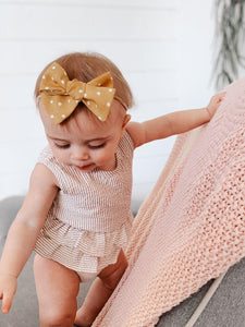Nyla Knotted Hair Bow - Mustard Polka Dot - Adassa Rose
