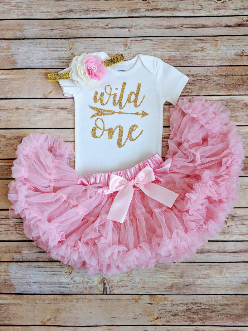 Wild One First Birthday Outfit Pink And Gold Tutu - Adassa Rose