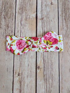 Rose Floral Top Knot Headband - Adassa Rose