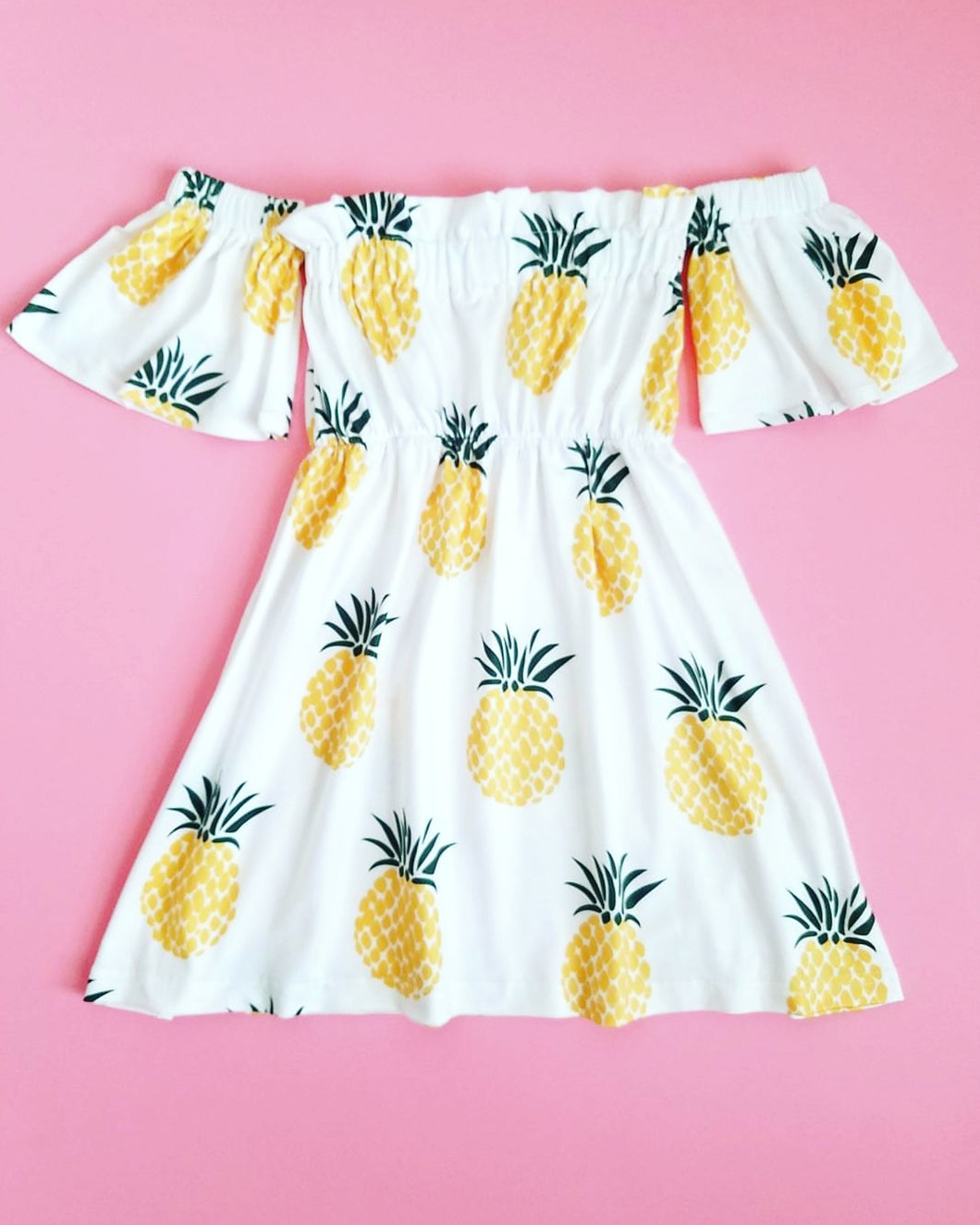 Pineapple Cold Shoulder Dress Girls - Adassa Rose
