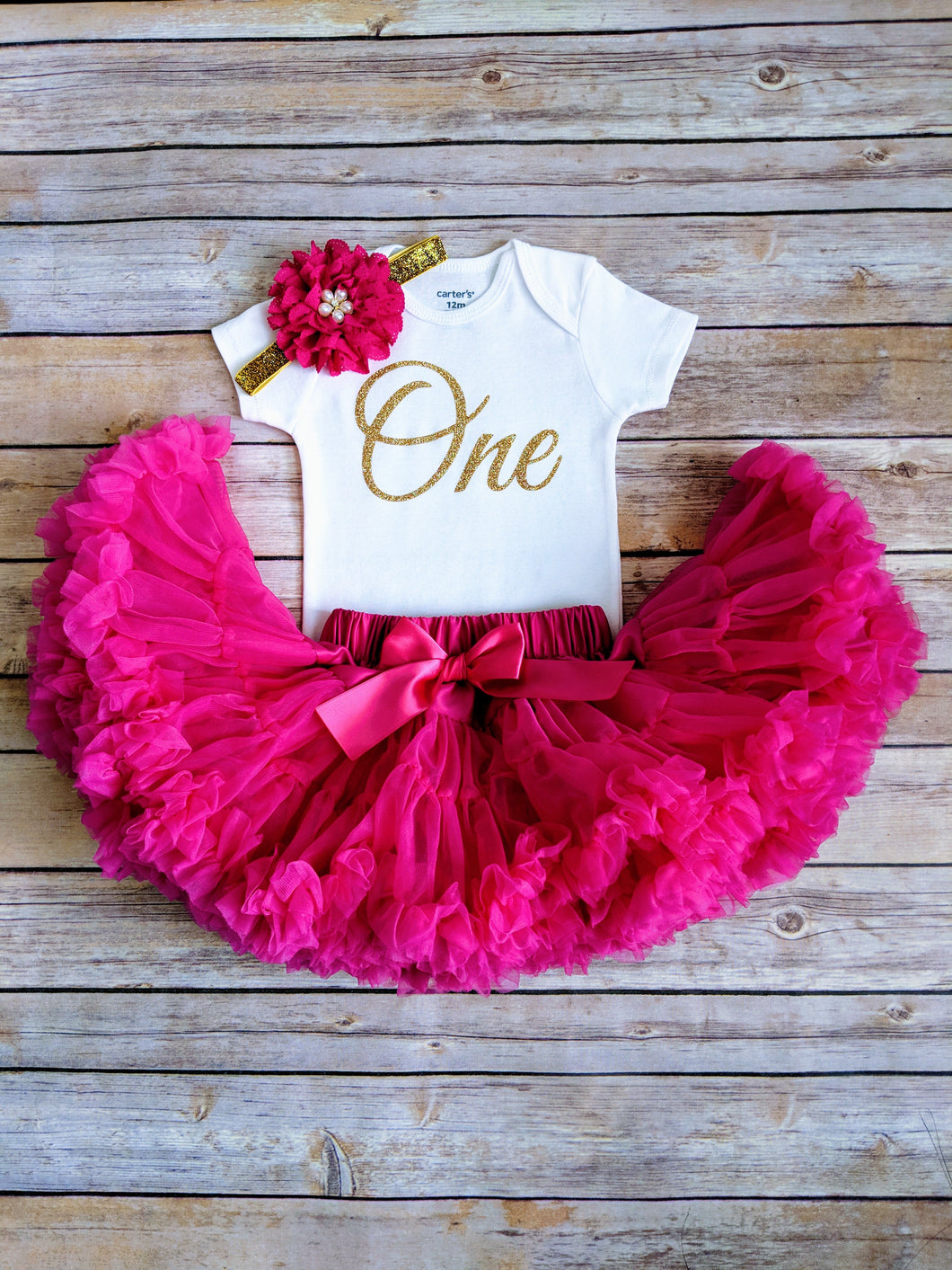 Fuschia And Gold First Birthday Outfit - Adassa Rose