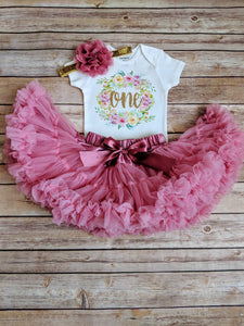 Dusty Rose And Gold First Birthday Outfit Floral Wreath - Adassa Rose
