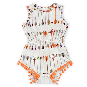Peach And Cream Pom Pom Romper - Adassa Rose