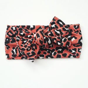 Coral Leopard Headwrap Baby Mommy And Me Headband - Adassa Rose